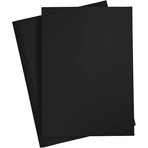 Bastelpapier Schwarz, 20 Blätter, DIN A4 210x297 mm, 70 g. Tonpapier zum Basteln und Gestalten