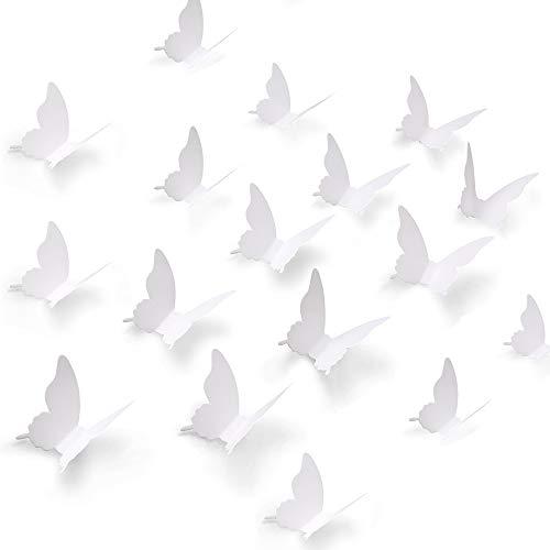 Gobesty 3D Bianco Carta Farfalle, 120 Pezzi 3D Bianco Farfalla Adesivo Da Parete Decalcomania arte carta Murales Decorativo