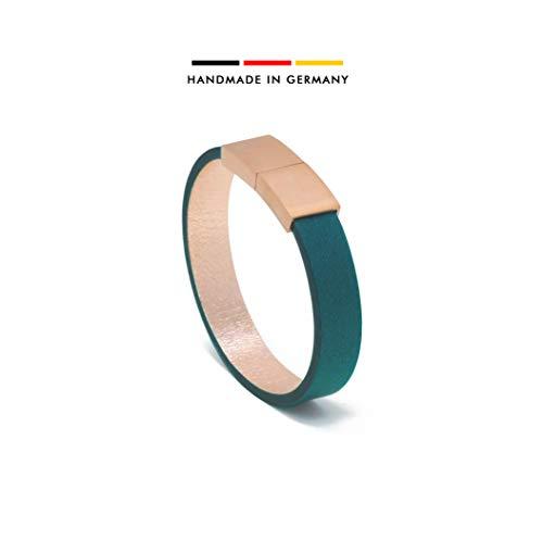 AIMI | LEATHERBAGS® - Premium Damen Lederarmband - handgefertigt im Schwarzwald | Magnetverschluss Edelstahl 18K vergoldet | inkl. edler Schmuckbox (mauritius, 16)