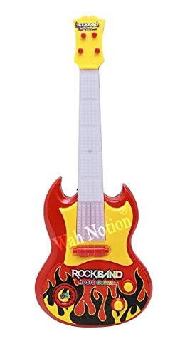 """WAH NOTION® 4-String Acoustic Enthusiasm Battery Operated Rockband Guitar Walnut Guitar Learning Kids Toy,18"""" Classic Model First Edition 2021"""