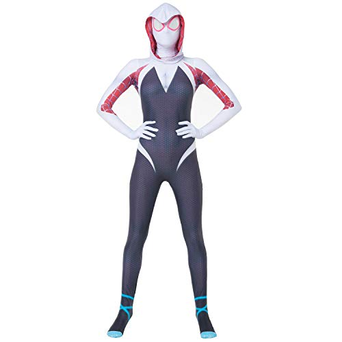 Gwen Stacy Spider-Man into The Spider Verse Costume Women & Girl Spiderman Spandex Halloween White Cosplay Zentai Suit