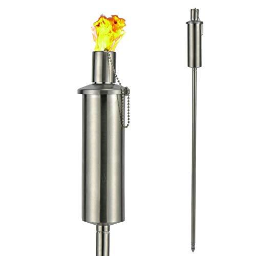 Gartenfacke Ölfackel Edelstahl 260ml Windlicht Gartenbeleuchtung Öllampe Fackel