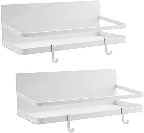 Bekith Paquete de 2 organizadores magnéticos para especias con 4 ganchos extraíbles, estante de almacenamiento para nevera, estante de especias de un solo nivel, color blanco