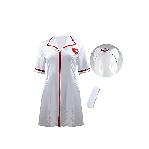 HUHUSW Disfraces de Enfermera Sexy para Mujer, Disfraz de Cosplay de Mujer Joven prometedora, Disfraz de Enfermera de Cassie, Disfraz de simulación, Disfraz de Enfermera de Halloween