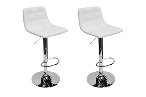 Best Master Furniture Hayden Modern Adjustable Height Bar Stool, Set of 2, White
