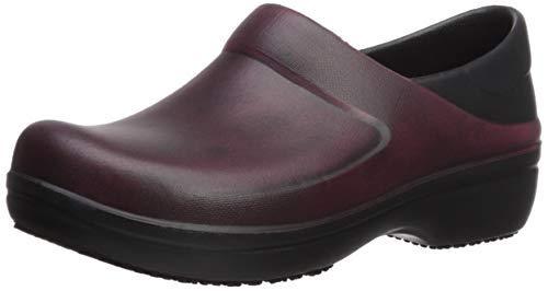 Crocs womens Women's Neria Pro Ii   Slip-resistant Work and Nursing Shoe Clog, Garnet/Black, 9 US