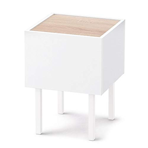 アイリスオーヤマ テーブル サイドテーブル ウッドサイドテーブル ベッドサイド ソファサイド 机 デスク おしゃれ ワンルーム WST-300 ウォームホワイト/ライトナチュラル 幅約30.0×奥行約30.0×高さ約41.0(cm)