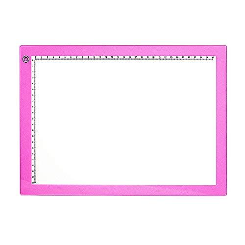 DYecHenG Tablero de Copia LED A4 Ultra-Delgado portátil USB LED Artesanía Rastreo Light Pad Desarrollado Control de Brillo para Visualización de Rayos X (Color : Pink, Size : 35.3x25.8x0.7cm)