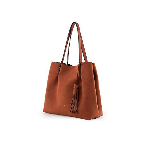 PACO MARTINEZ | Bolso Shopper soft borla para mujer | Efecto textura | 31x33x13,5 | Marrón Camel