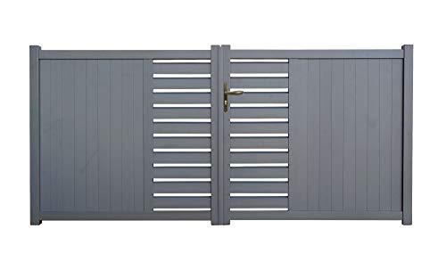 portail aluminium Cardiff gris 3m