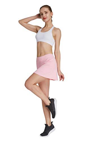 HonourSport - Falda de tenis para mujer con mallas deportivas, tallas XS - XXL rosa claro XL