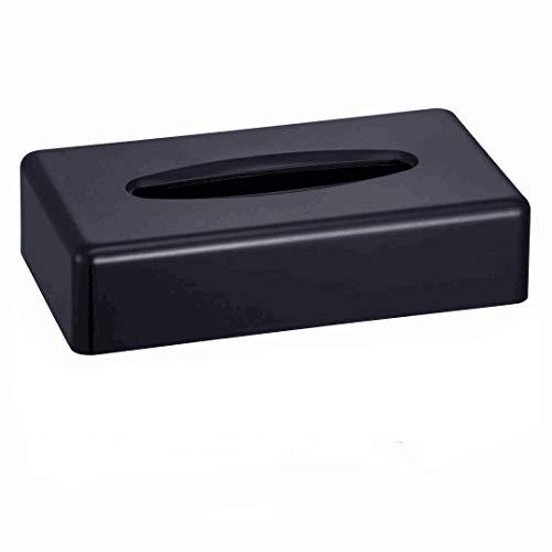 CROWNSTARQI Rectangular caja de pañuelos de tejido facial Kleenex Flat Napkin dispensador para encimeras de tocador de baño (negro)
