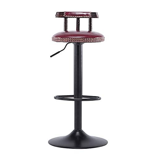 Sgabello da Bar Sgabello Alto Vintage Sgabello da Toeletta Girevole Regolabile in Altezza con Schienale E Poggiapiedi per Cucina Bar Salon Spa,Wine Red