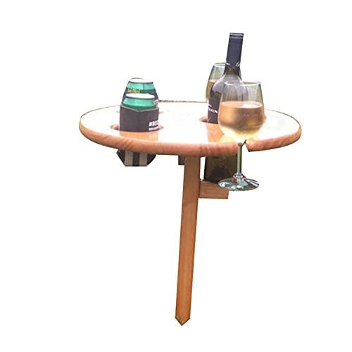 Mesa de vino portátil para exterior, fácil instalación de alimentos plegables al aire libre, plegables y plegables redondas de escritorio, plegable, mesa de playa de vino, mesa de picnic perfecta