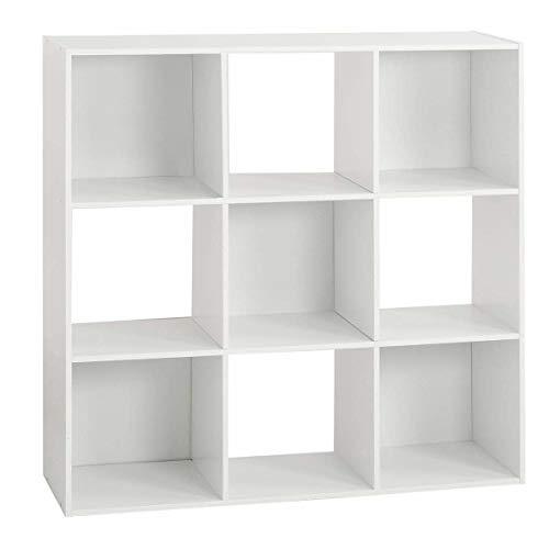 AC-Déco Etagère 9 Cases - L 100,5 x P 32 x H 100,5 cm - Bois - Blanc