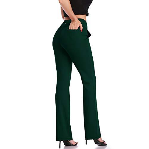 DAYOUNG Womens Bootcut Yoga Pants High Waist Flared Long Bootleg Trousers for Running Pants YWK22 Dark Green S