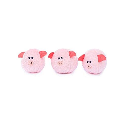 ZippyPaws - Farm Pals Burrow, Interactive Squeaky Hide and Seek Plush Dog Toy - Bubble Babiez Pigs Miniz, 3 Pack