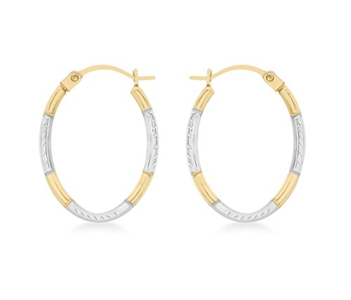 Carissima Gold 9ct 2 Colour Gold Diamond Cut Oval Creole Earrings