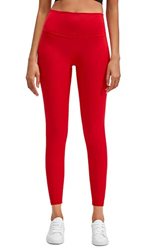 Lavento Women's Ankle Leggings High Waist Tummy Control Yoga Pants -  Red -  Small