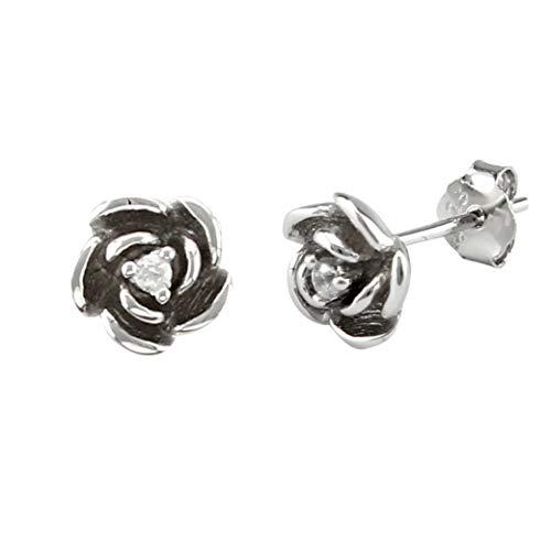 Serebra Jewelry Rosen Ohrstecker Ohrringe aus 925 Sterling-Silber Blume Garten Liebe