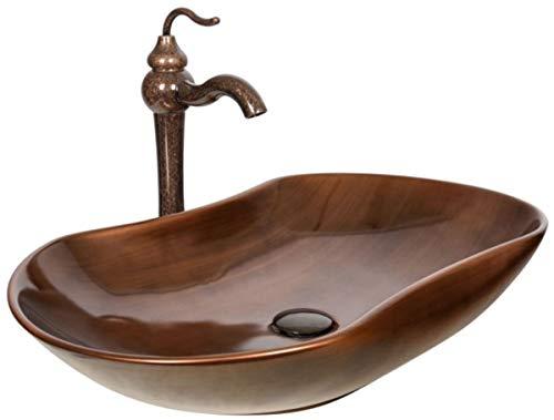 Casa Padrino Jugendstil Waschtisch Set Dunkelbraun/Kupfer 67 x 41,5 x H. 37,2 cm - Rustikaler Einhebelmischer mit antiker Marmoroberfläche und elegantem Waschbecken