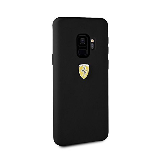 CG Mobile Ferrari Phone Case for Samsung Galaxy S9 Silicone Case Slim Fit with Soft Microfiber Interior Easy Snap-on Shock Absorption Cover Officially Licensed. (Black)