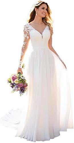 PrettyTatum Women's V-Neck Beach Wedding Dresses for Bride 2020 Long Sleeve Lace...