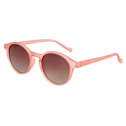 ZENOTTIC Sonnenbrille Polarisiert Rund Retro Klassisch UV 400 Schutz Vintage Rahmen f¨¹r Herren Damen ¡ (ROTER + TEE)