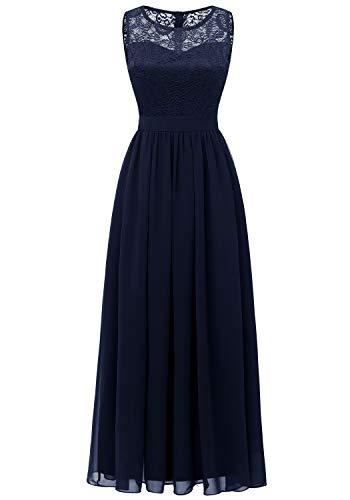 Dressystar 0046 Abendkleid Basic Chiffon Spitzen Ärmellos Brautjungfernkleider Bodenlang Marineblau XS