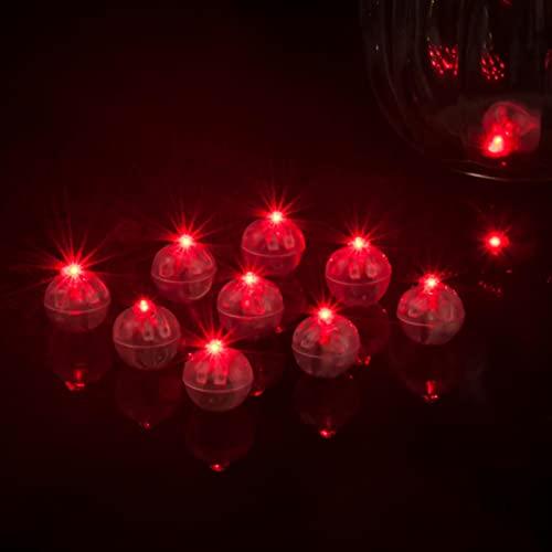 AUTUUCKEE Bola redonda LED luces de globo, mini lámparas LED para globos de farol, decoración de fiesta de boda de Navidad (10 piezas rojas)
