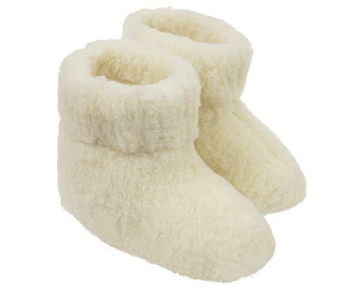 Estro Herren Damen Hausschuhe Reine Wollhausschuhe - Hüttenschuhe Stiefel Warm Winter Wolle Warme Winterhausschuhe Schafswolle Mit Fell Schafwolle OLE(39 EU, Creme)