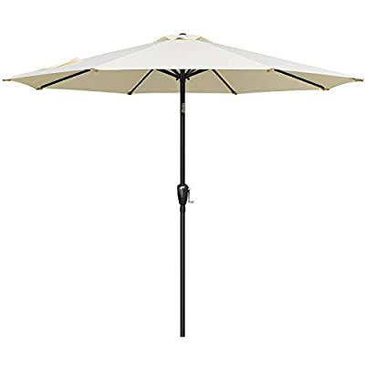 Simple Deluxe LGBRLA9BGE 9ft Outdoor Market Table Patio Umbrella with Button Tilt and 8 Sturdy Ribs, Beige