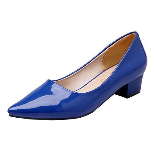 MISSUIT Damen Spitze Pumps Lack Blockabsatz Chunky Heels Pumps Slip on Schuhe(Blau,37)
