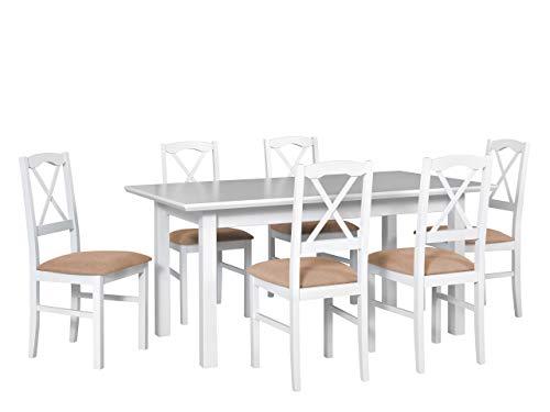 Mirjan24 Esstisch mit 6 Stühlen DM46, Sitzgruppe, Küchentisch, Esstischgruppe, Esszimmer Set, Esstisch Stuhlset, Esszimmergarnitur, DMXZ (Weiß/Weiß Etna 22)