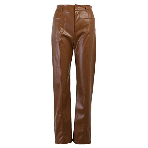 HTABY Pantalones De Cuero PU Mujer con Bolsillos Dobles Pantalones Rectos Cintura Alta Motocicleta Pantalones Mujer Oficina Cadera Delgada Y Brillante Leggings,Marrón,S