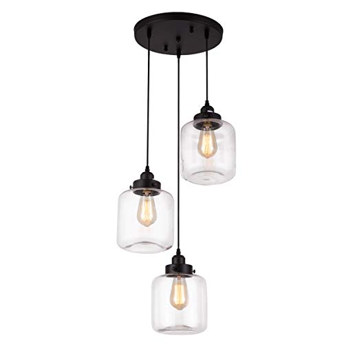 Weesalife Pendant Light with Transparent Glass Shade Matte...