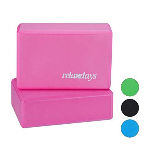 Relaxdays Unisex– Erwachsene, Pink Yogablock im 2er Set, Klötze f Übungen, Hartschaum, rutschfest, Yoga-Würfel HBT 8x23x15 cm