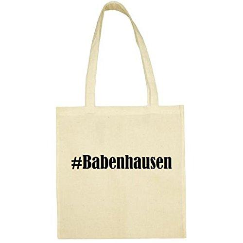 Tasche #Babenhausen Größe 38x42 Farbe Natur Druck Schwarz