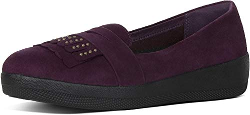 FitFlop Womens Studded Fringey Sneakerloafer Shoes, Deep Plum, US 8.5