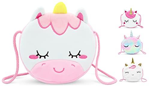 VAMY kids Bolso Unicornio de felpa para niñas. Muy suave y agradable. Tamaño de bolso: 17 x 17 x 4 cm