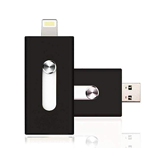 Apple MFI - Memoria USB Compatible con iPhone y iPad de 32 GB, 16 GB, 32 GB, 64 GB (64.00GB), Color Negro