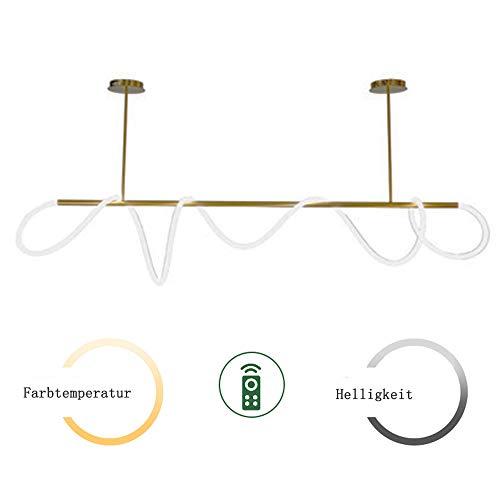 Lámpara colgante LED de 36 W dorada, de metal, para colgar con mando a distancia, lámpara de techo DIY, adhesivo suave, moderna para comedor, salón, dormitorio