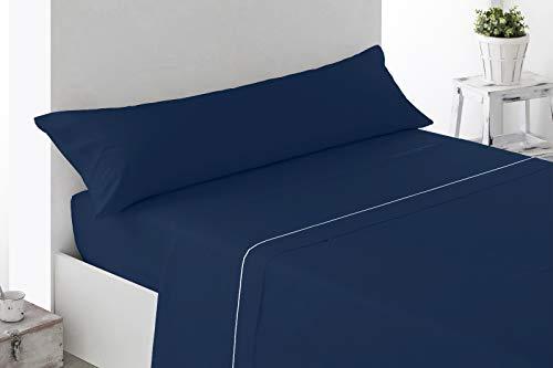 Energy Colors Textil - Hogar Juego SÁBANAS DE Verano Lisas (3 Piezas) para Cama Grande de 150 x 190/200 cm (LIQUIDACIÓN) (Marino/Turquesa)