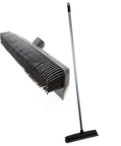 Professional Rubber Broom with Solid 120cm Handle Pet Hair Removal Sweeping Brush - Specially Designed to Remove Dog Cat and Human Hair from Carpets and Flooring - Hundreds of Individual Rubber Bristles Collect and Attract Hair from Carpet - Also Features Inbuilt Squeegee for Removing Water from Flooring - Soft Flexible Rubber Bristles will Not Mark Surface