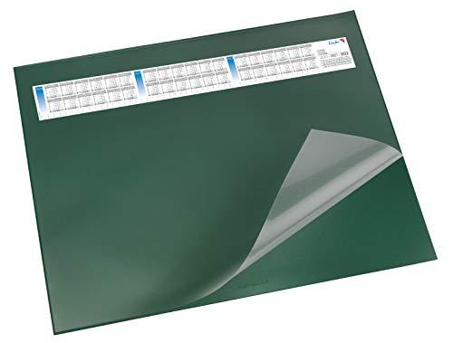 Läufer 44651 Durella DS Schreibtischunterlage mit transparenter Auflage und Kalender, rutschfeste Schreibunterlage, verschiedene Farben, 52 x 65cm, grün