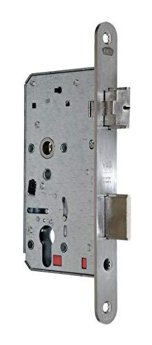 BKS Automatik Türschloss Selbstverriegelnd B 2124 für Profilzylinder 60/72/8, Edelstahl Stulp: 24 x 235mm abgerundet, DIN Rechts incl. SN-TEC® Montageset