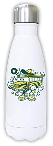 Iprints Cartoon Style School Bus Learning Transport Thermal Water Bottle