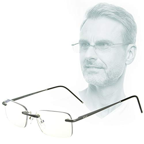 Edison & King - Leesbril Free - Randloze bril van aluminium, met verende scharnieren - Extra licht (Grijs, 1,00 dpt)