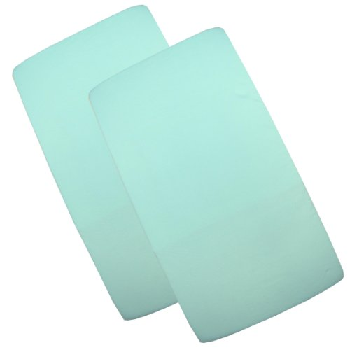 BabyPrem Baby Pack of 2 Fitted Cotton Travel Cot Sheets 95 x 65cm Aqua