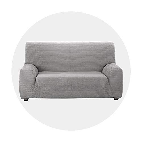Deconovo Stretch Elastische Sofahusse Abdeckung Hussen für Sofa Sofabezug Wohnzimmer In Europa hergestellt 140-200 cm Hellgrau 2-Sitzer